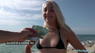 Public Agent Spanish stunner with bright hair fuckfest on the beach